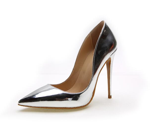 2017 newest metallic leather high heel shoes sexy pointed toe wedding heels for woman slip-on stiletto heels silver gold sexy brand stiletto heel shoes woman high heels pointed toe 12mm brown leather pumps fenty beauty slip on shallow wedding shoes