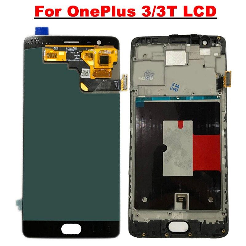 AMOLED 5.5 ''Affichage Pour oneplus 3 3 t LCD Display + Écran Tactile Digitizer Pour oneplus 3 3 t a3010 A3000 LCD Écran Avec Cadre