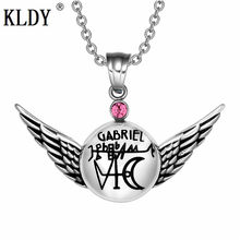 KLDY Pink Crystal Charm collares colgantes Archangel de la serie de anillos de joyería Magic Planetary Powers Amulet colgante inoxidable 2018(China)