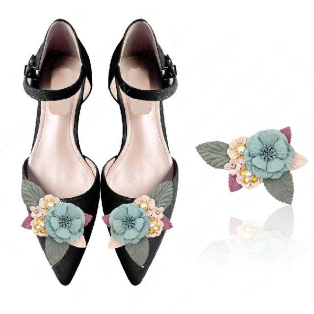 1 PC DIY Giày Trang Trí Hoa Handmade Ngọc Trai Giày Cao Gót Phụ Nữ Phụ Nữ Đồ Trang Trí Quyến Rũ Phụ Kiện Đầy Màu Sắc Hoa Thời Trang
