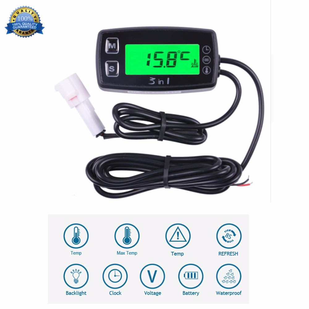 3 in 1 TEMP METER thermometer voltmeter clock temperature SENSOR voltage meter for pit bike motorcycle snowmobile atv boat oil waterproof digital lcd counter hour meter for dirt quad bike atv motorcycle snowmobile jet ski boat pit bike motorbike marine