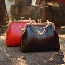 Frauen klassische verschluss geldbörse exquisite elch metallrahmen handtasche schwarz rot damen party und hochzeit tägliche schulter