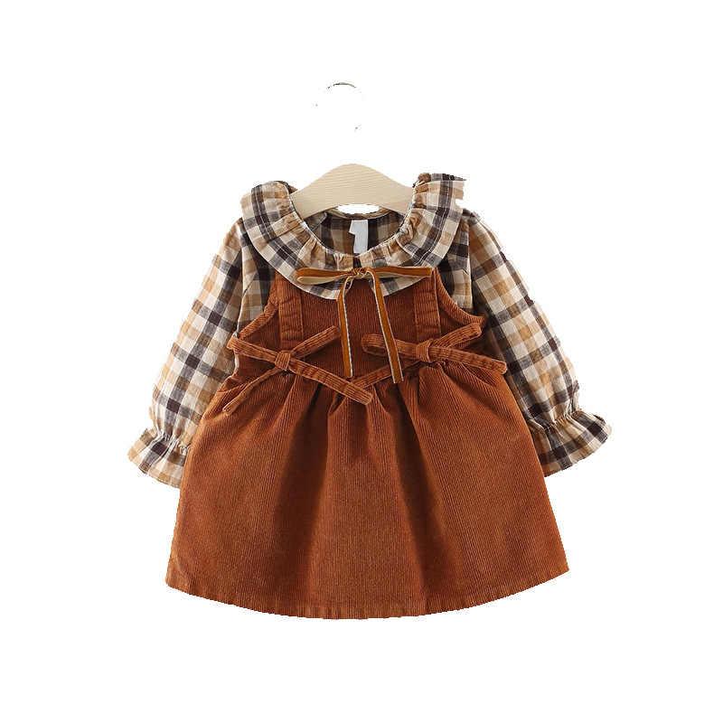 Коллекция 2018 года, Новое поступление, хлопковое платье для малышей vestido infantil осеннее модное платье в клетку на бретелях для девочек возрастом до 3 лет два комплекта