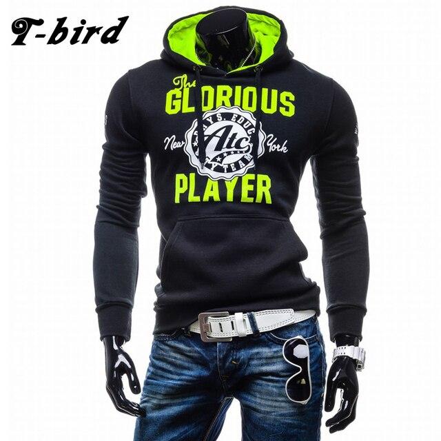 T-bird Hoodies Homens Carta Impressão Camisolas Dos Homens Hip Hop Pullover Outono Inverno Sportswear Dos Homens Marca de Moda Masculina Com Capuz XXL