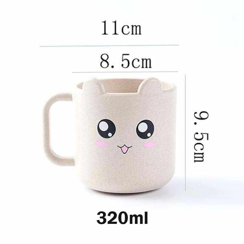 Taza de leche para bebé de 320ml, bonita taza de leche de trigo de seguridad con dibujos de animales, oso, Panda, gato, bebé, niños, taza de té para alimentar con leche y agua