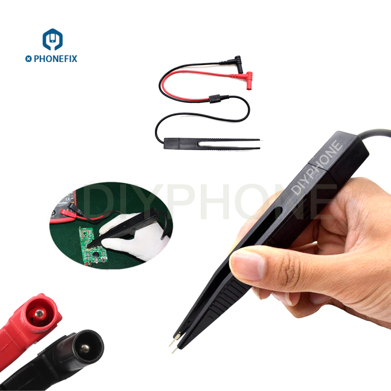 PHONEFIX Multimeter Tweezers Pen LCR Capacitor Meter Wire Pen Cable Needle Tip Probe Phone PCB Repair Test Clip Tweezers