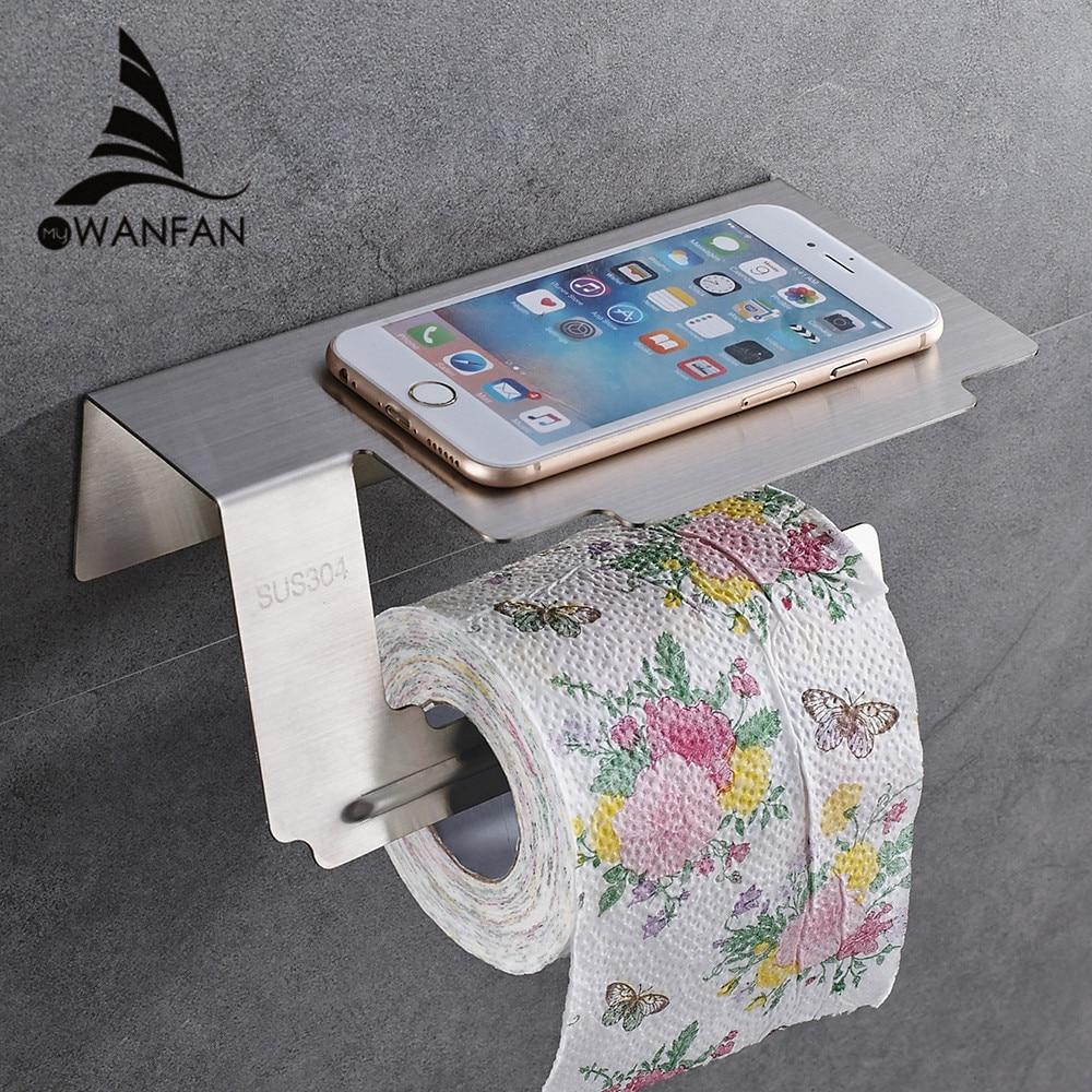 Papierspender Edelstahl Chrome Toilettenpapierhalter Telefon Stand Wand Bad  Accessoires Ohne Abdeckung WC Rack WF 18063