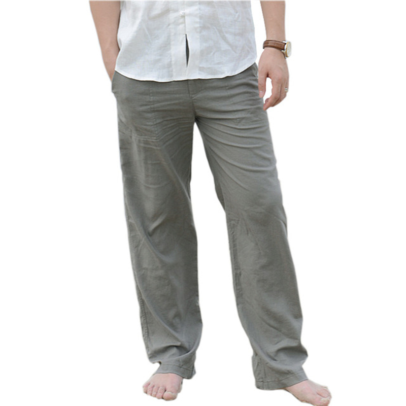 Summer Men's Casual Cotton Linen Trousers Loose Large Size 3XL Beach Pants Elastic Waist White Khaki Comfortable Trousers