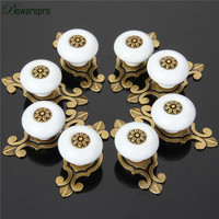 8 Pcs Vintage Retro Ceramic Door Knob Wardrobe Cabinet Drawer Pull Kitchen Cabinet Handle Ceramic Cupboard