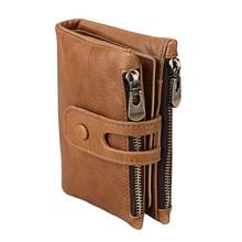 цена на KEVIN YUN vintage genuine leather men wallet double zipper large capacity male card holder purse wallet