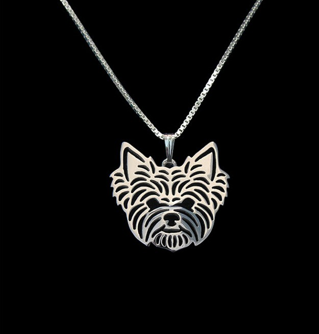 Oro y plata 1 unids Yorkshire Terrier Collar 3D Cut Out Puppy Dog Lover Colgante Memorial Collares Colgantes de Regalo de Navidad