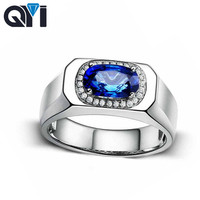 QYI 1ct Oval Cut Blue Sona Stone Wedding Rings For Women 925 Sterling Silver Simulated Sapphire Solitaire Engagement Rings