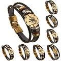 AMOURJOUX 12 Zodiac Signs Constellation Charm Black Genuine Leather Bracelet Man Vintage Braided Bracelets For Men Women