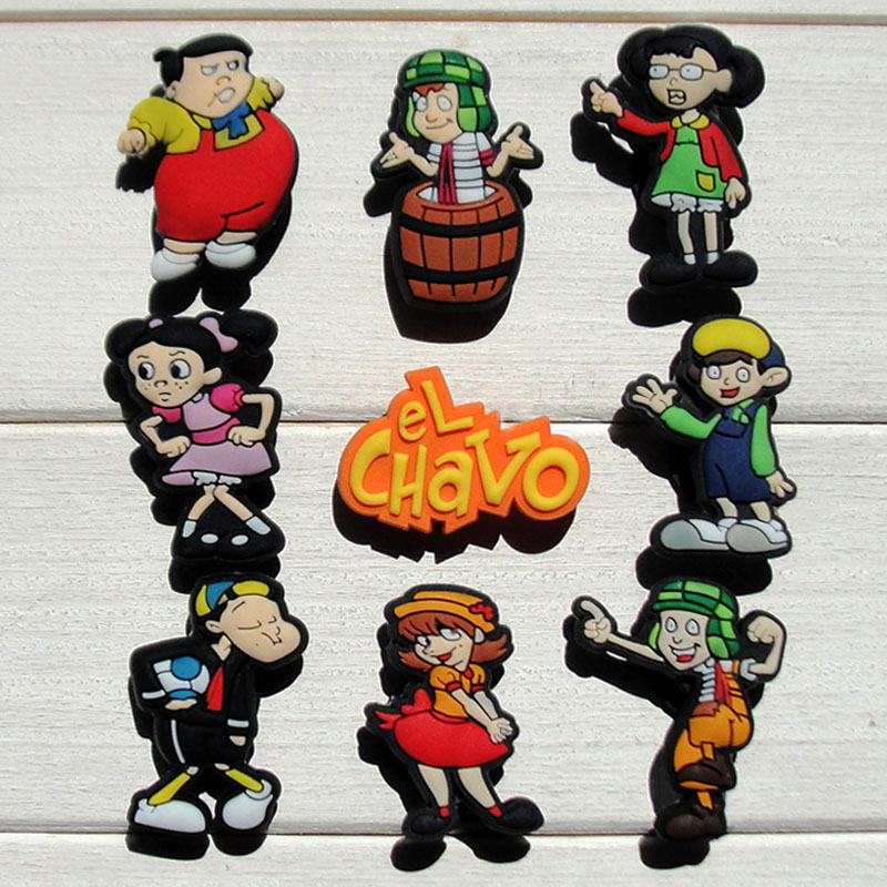 18PCS EL Chavo Cartoon PVC Shoe Charms Shoe Accessories Shoe Buckles Decoractions Fit Bands JIBZ Wristband Bracelets Clog Gifts