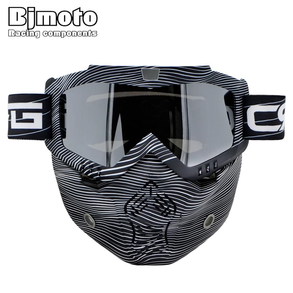 Bjmoto Detachable helmet glasses goggles Motorcycle Oculos Gafas Mouth Motocross Goggles Glasses Dust Mask google все цены