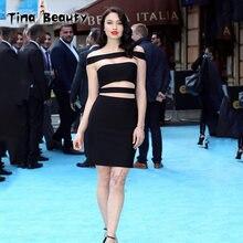 Tina belleza 2018 vestido blanco negro rojo del vendaje de las mujeres  fuera del hombro ahueca hacia fuera vestido de fiesta Sex. eeaf6740b62a