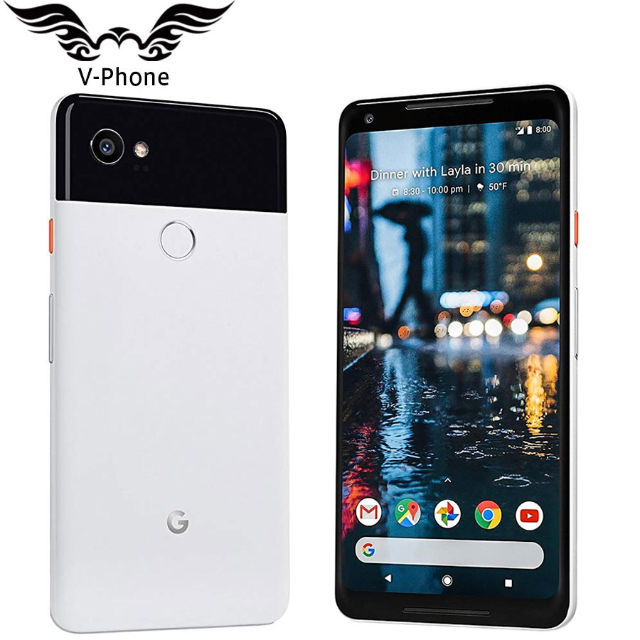 D'origine Brabd Nouveau US Version Google Pixel 2 XL 64 GB 128 GB téléphone portable 6 Snapdragon 835 Octa Core 4G LTE 4 GB RAM D'empreintes Digitales