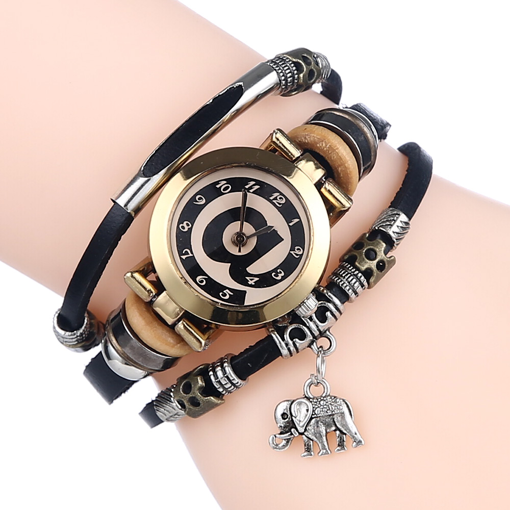 Gnova Platinum Leather Women Watch Elephant Charm Black At Dial Stainless Strap Bracelet Wristwatch Fashion Quartz Clock A551 gnova platinum top black strap women bracelet watch golden wristwatch girl pu leather fashion relogio dropship classic clock