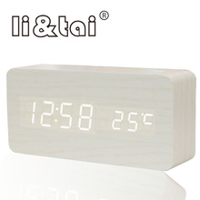 Wooden LED Alarm Clock Temperature Sounds Control Calendar Digital Clock LED Display Electronic Desktop Digital Table wood Clock стоимость