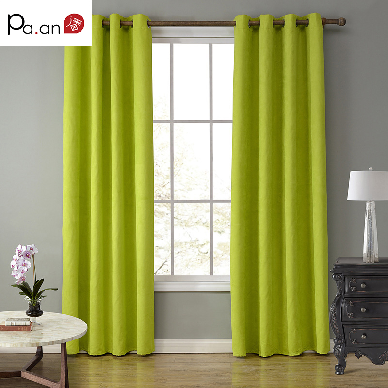 Europe Green Suede Fabric Curtains For Living Room Bedroom Solid Color Grommet Top Curtain Blackout Window Screening Cloth