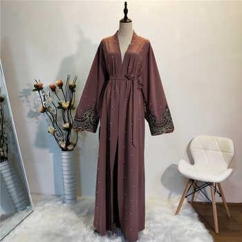 Abaya Kimono Caftan Robe Femme dubaï musulman Cardigan Hijab Robe Abayas pour les femmes Ramadan Caftan Marocain Qatar islamique vêtements