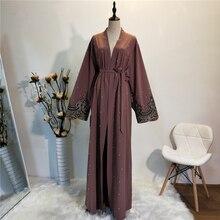 Kaftan Robe FemmeดูไบAbaya KimonoมุสลิมCardigan HijabชุดAbayasสำหรับผู้หญิงรอมฎอนCaftan Marocainกาตาร์เสื้อผ้าอิสลาม