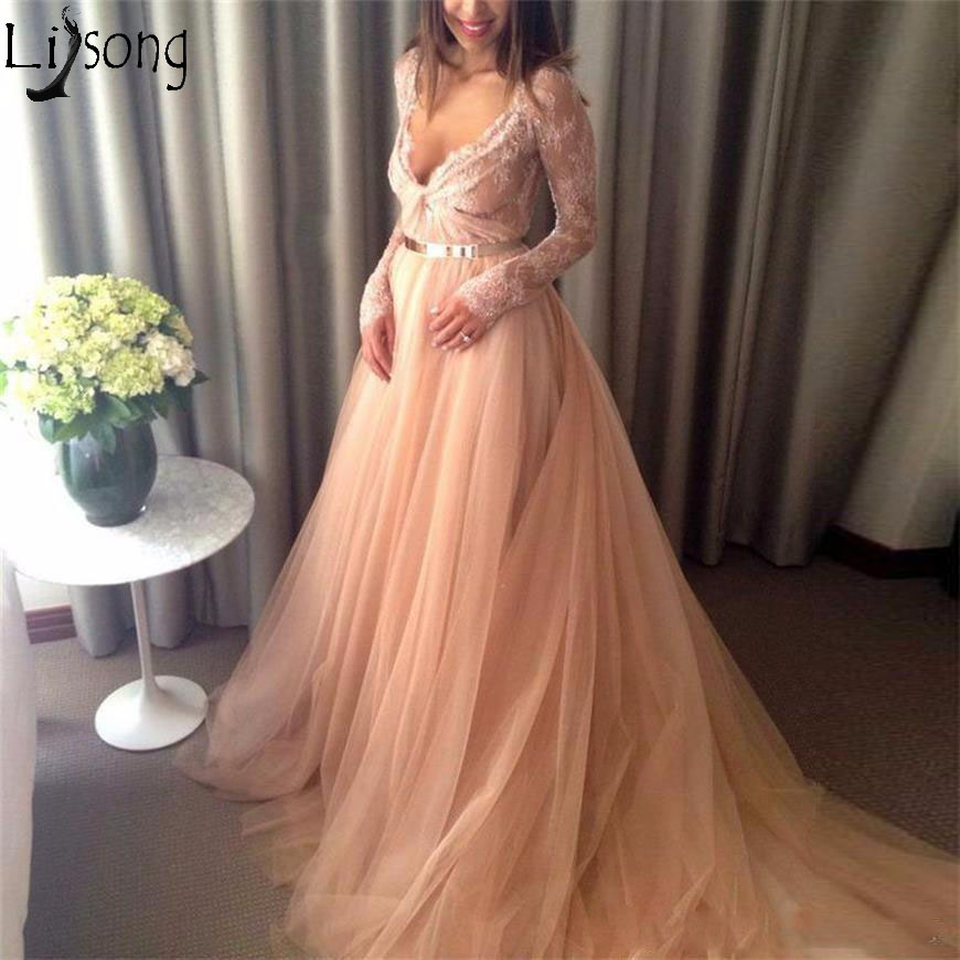 2019   Prom     Dresses   Formal Lace Gown Long Sleeve Elegant V Neck Zipper Back Illusion Sweep Train A Line Evening   Dress   Party Wear