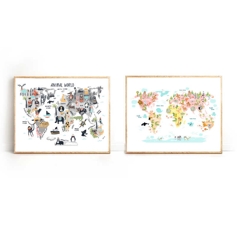 Animal World Map Nursery Wall Art Canvas Painting Scandinavian Posters and Prints Cute Cartoon Animals Pictures Kids Room Decor