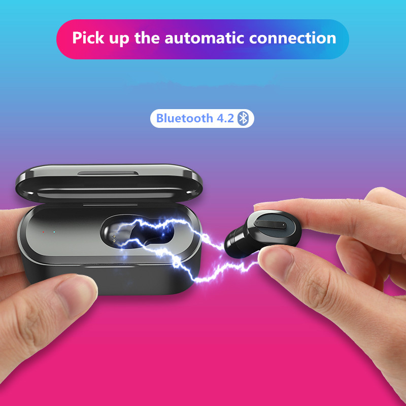 Concealed single-sided Bluetooth headset <font><b>TWS</b></font> Bluetooth Earphone Stereo Earbud Wireless Earphone With Charging Box Mic image