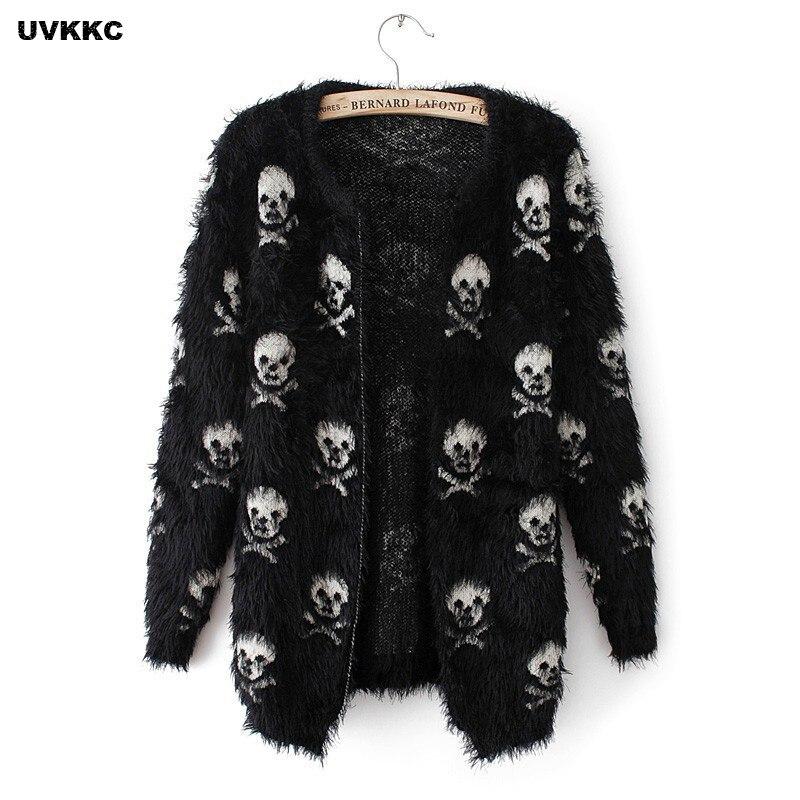 UVKKC Kadın Cardigans Kazak Kafatası Desen Kadın Tiftik Örme Cardigans Kadınlar Için Siyah Beyaz Sonbahar Cardigans Kazak