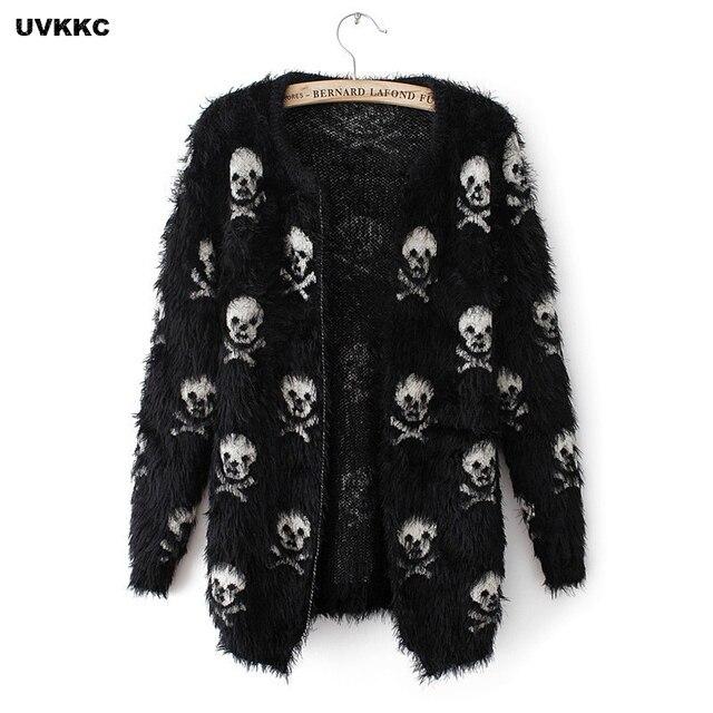 UVKKC אפודות נשים סוודרים דפוס גולגולת שחור לבן נקבה אנגורה סוודרים סרוגים אפודות סתיו סוודר לנשים