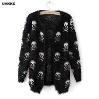 UVKKC Women Cardigan Sweater Mohair Skull Pattern Female Knitted Open Stitch Knitwear Black White Autumn Cardigans