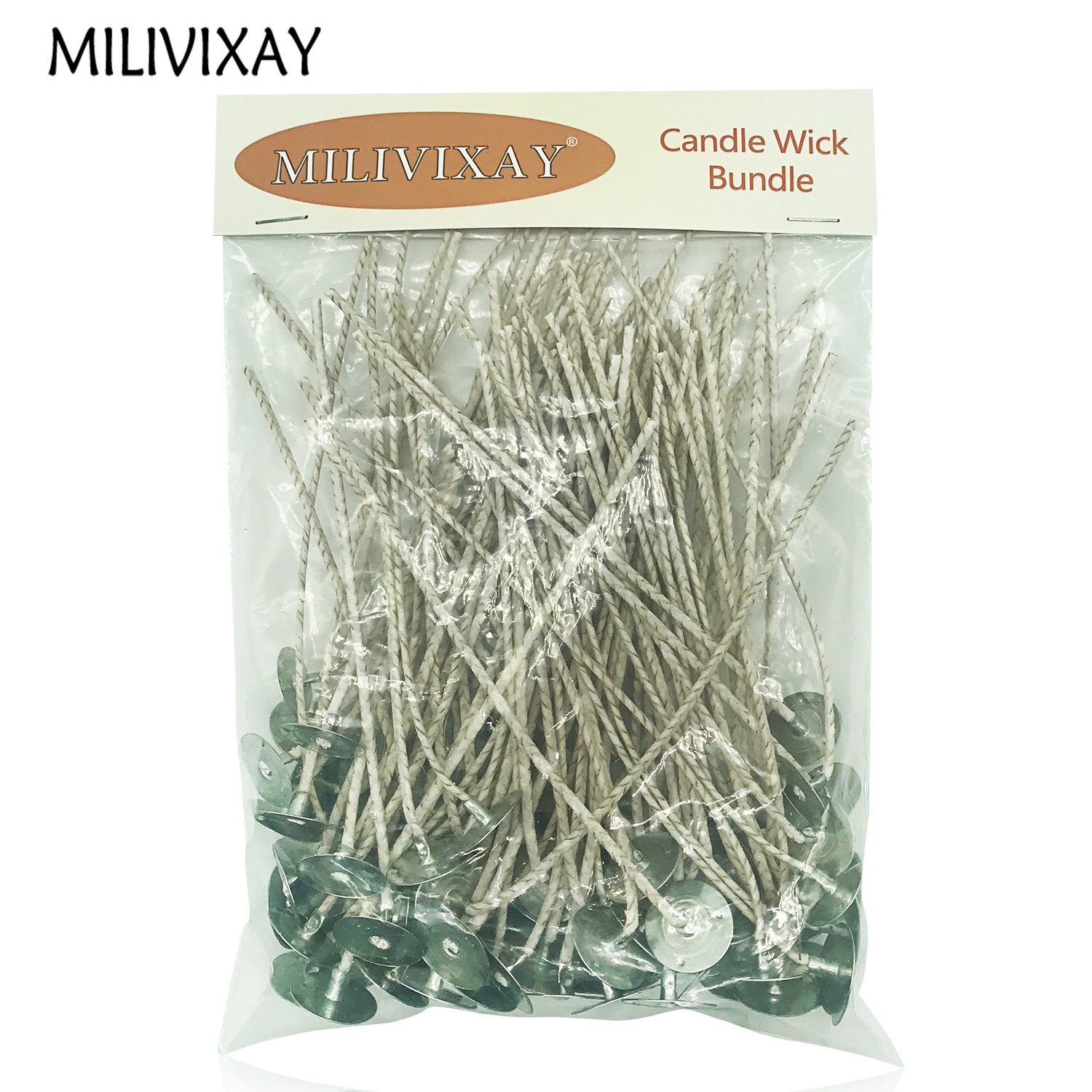 MILIVIXAY 100Pcs/Lot Candle Wicks For Candle Making Coated With Natural Soy Wax Low Smoke DIY Candle Making Candle Wicks Bougie
