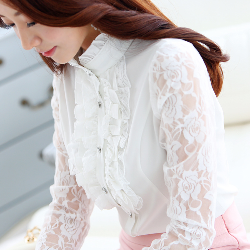 Women's Chiffon Lace Blouse Long Sleeve Ruffles Shirt Chiffon Tops  New Spring