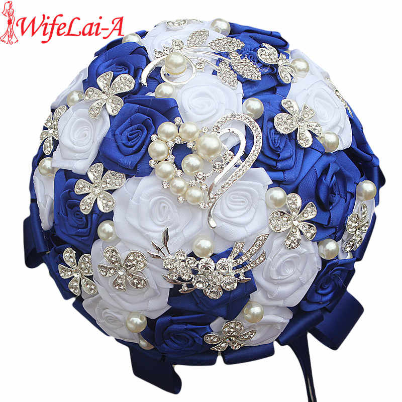 WifeLai-A Royal Blue White Brooch Wedding Bouquets Silk Rhinestone Artificial Rose Flowers Bridesmaid Mariage Bouquets W125-2