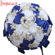WifeLai A Royal Blue White Brooch Wedding Bouquets Silk Rhinestone Artificial Rose Flowers Bridesmaid Mariage Bouquets W125 2