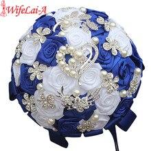 WifeLai מלכותי כחול לבן סיכת חתונה זרי משי ריינסטון מלאכותי עלה פרחי שושבינה Mariage זרי W125 2