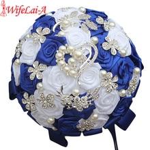 Wifelai Un Royal Blue Bianco Spilla Bouquet da Sposa di Seta di Strass Artificiale Della Rosa Fiori Damigella Donore Mariage Bouquet W125 2