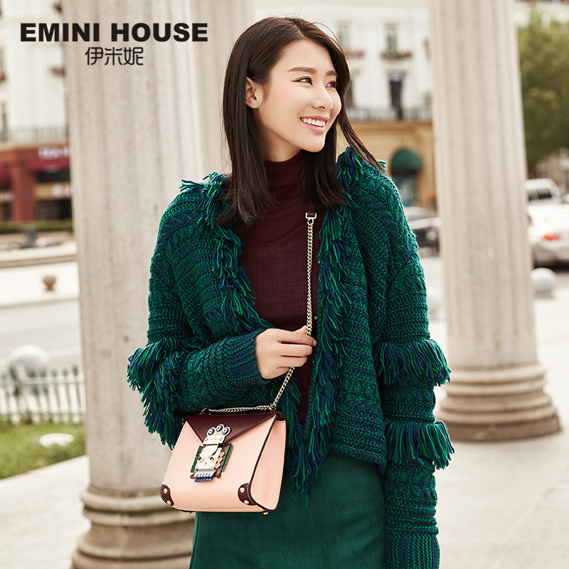 купить EMINI HOUSE Indian Style Bag Women Messenger Bags Split Leather Crossbody Bags For Women Shoulder Bag Chic Chain Original Design недорого