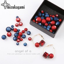 Red And Blue Perforated Loose Beads 10pcs/lot For DIY Fashion Earrings Jewelry Making Accessories(China)