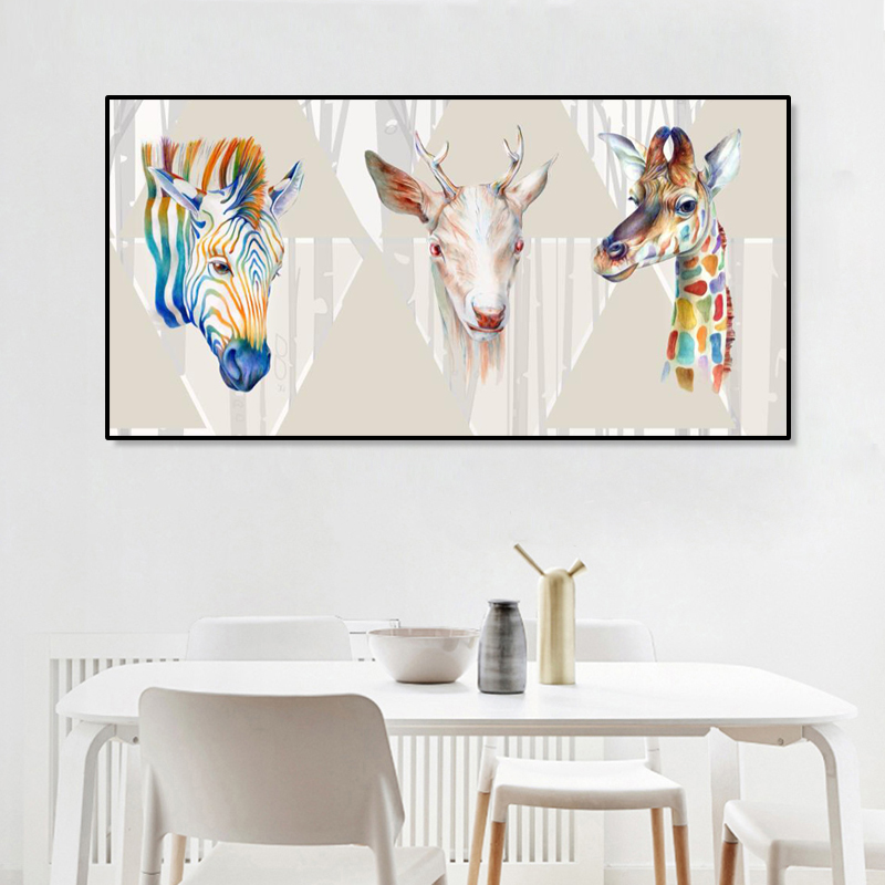 Posters and Prints on Canvas Wall Art Pictures Zebra Deer and Giraffe Decorative Painting for Living Room Nordic Decor No Frame in Painting Calligraphy from Home Garden