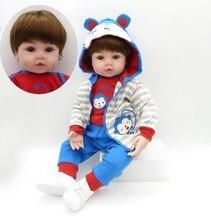 Npkcollection 48 cm 실리콘 reborn 인형 아기 소년 인형 reborn for children 선물 살아있는 bonecas reborn de silicone kids toy