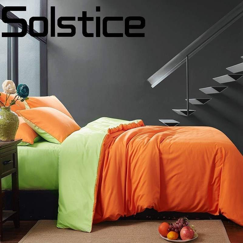 Solstice Textile de Maison longues fibers de coton doux et confortable solide couleur double literie linge de lit taie d'oreiller housse de couette 3 /4 pcs