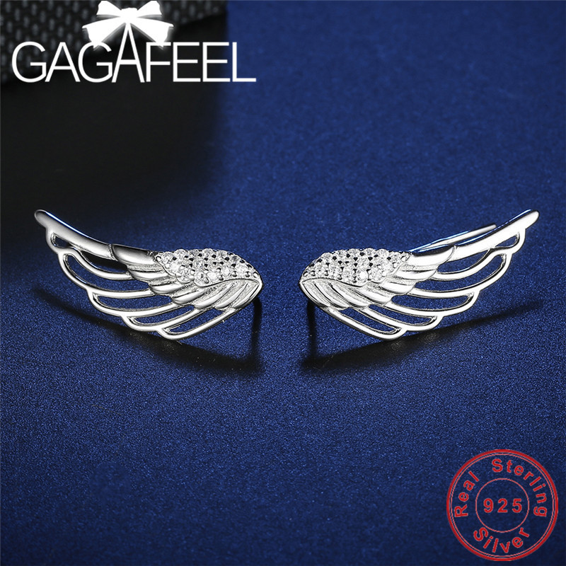 GAGAFEEL Angles Wing Sliver Color 925 Sterling Sliver Earrings Top Quality Trendy Jewelry for Womens Wedding Party Wholesale sGAGAFEEL Angles Wing Sliver Color 925 Sterling Sliver Earrings Top Quality Trendy Jewelry for Womens Wedding Party Wholesale s