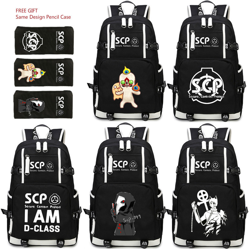 SCP Shoulders Backpack Special Containment Procedures Foundation Oxford In Black Backpack Secure Contain Protect аккумулятор для мобильных телефонов kyocera scp 40lbps scp 40lbps