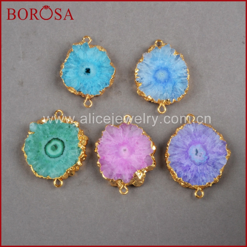 BOROSA Natural Stone Connector Gold Color Sun Flower Rainbow Solar Quartz Druzy Connector Quartz Jewelry G246