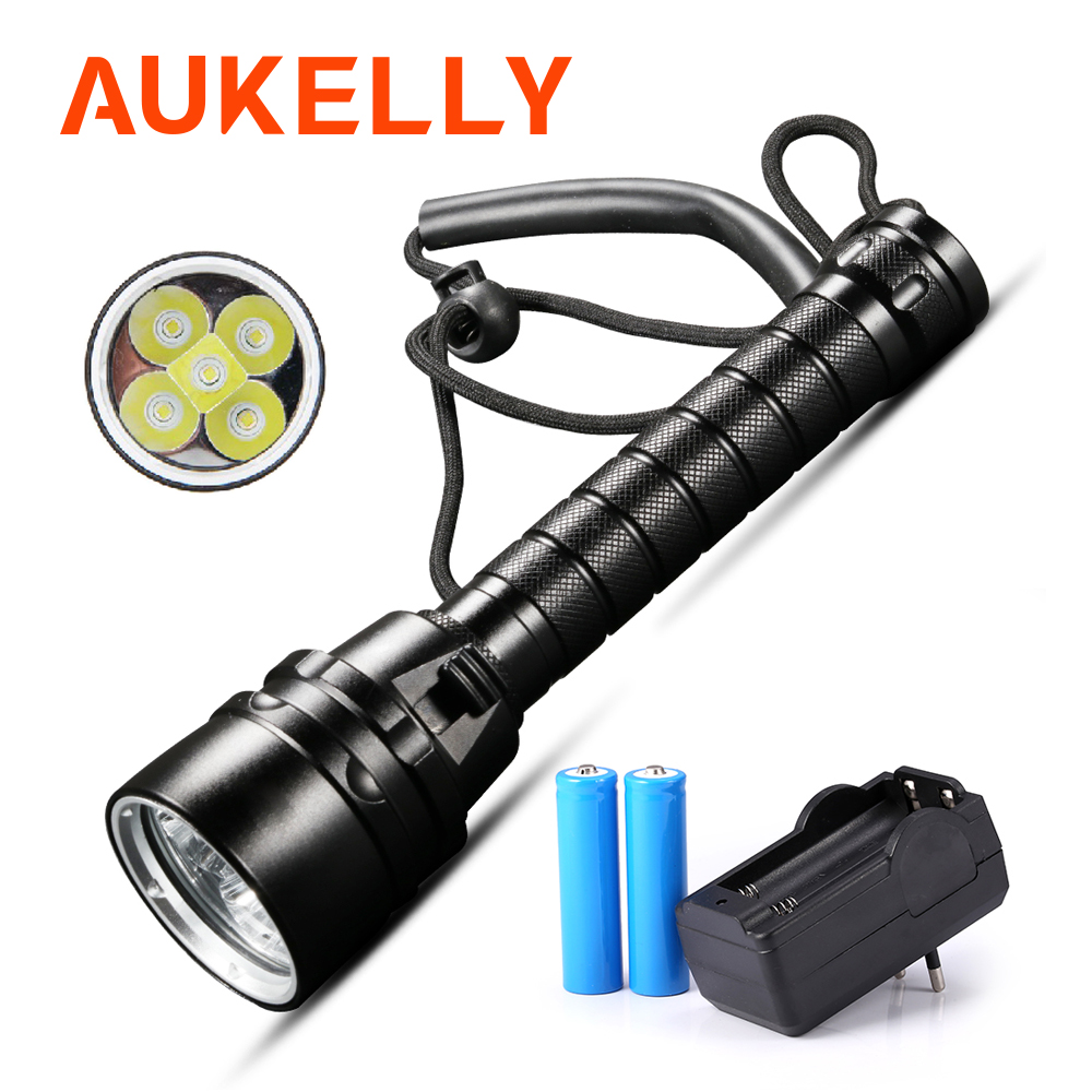 Professional diving flashlight 5*L2 Rechargeable Underwater scuba lantern waterproof Dive Tactical torch 18650 battery