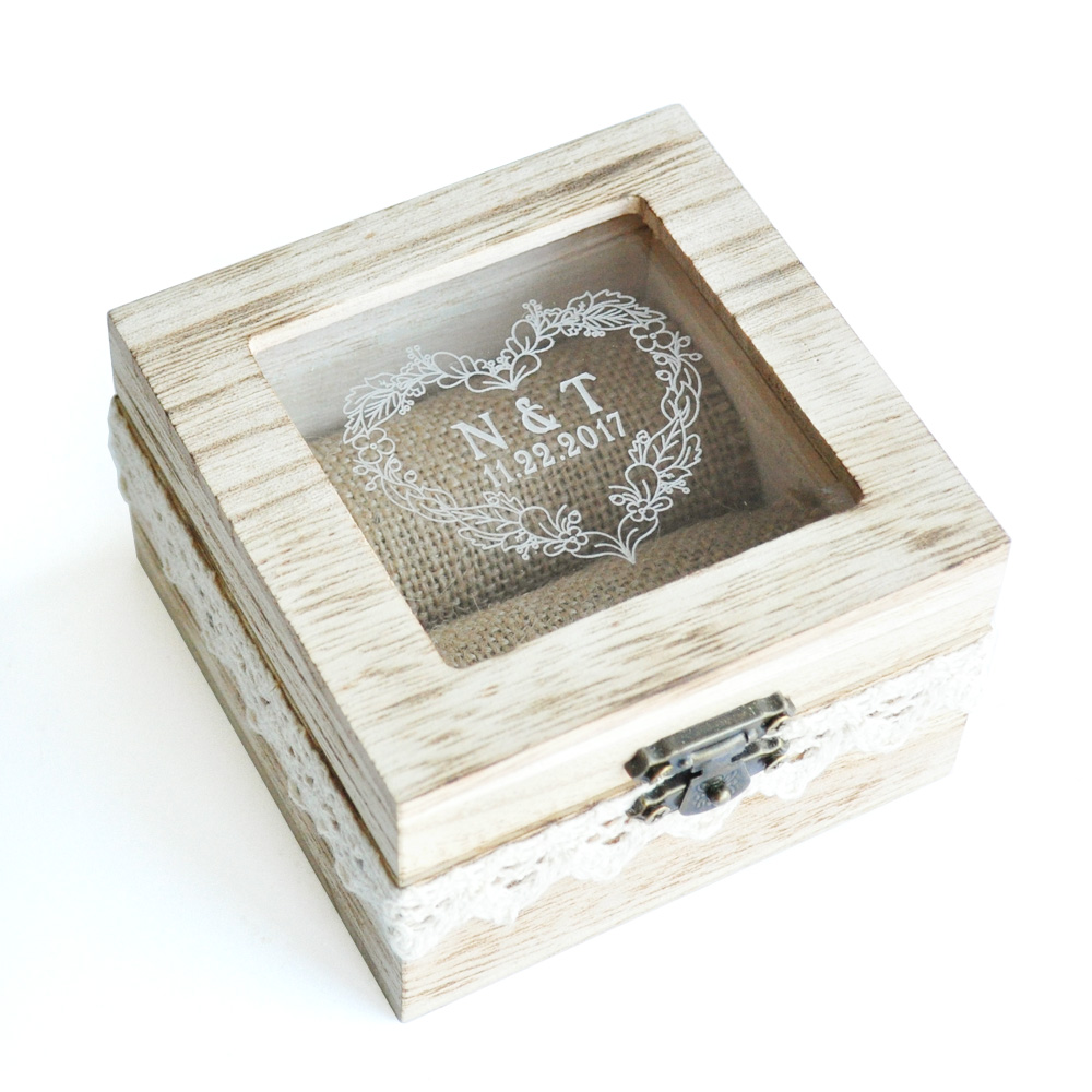 Wedding Ring Box,Personalized Wooden Wedding Ring Box,Rustic Wedding Ring Bearer Box,Wedding Ring Holder
