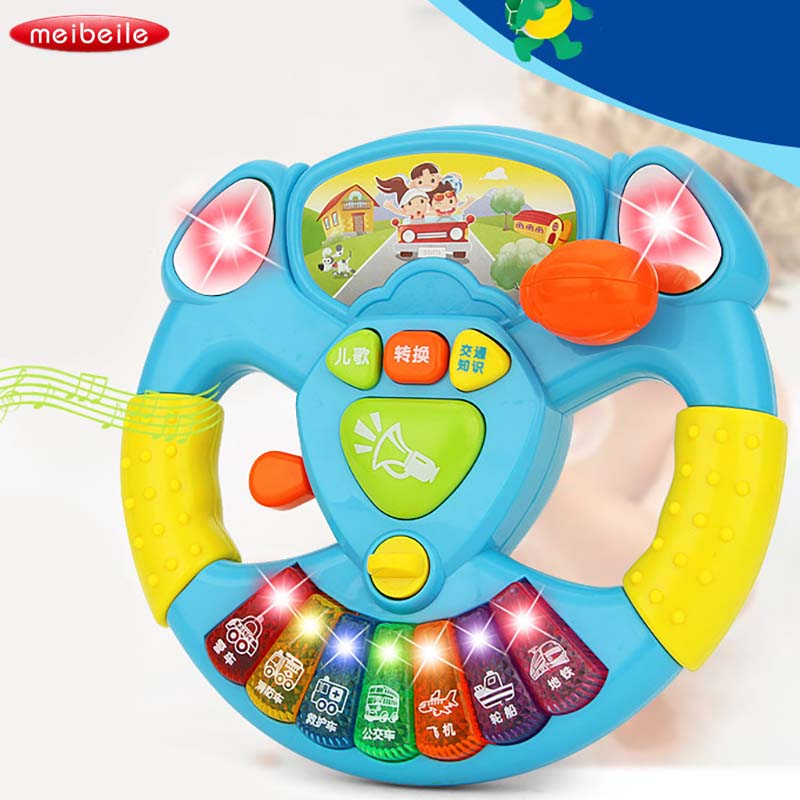 все цены на Electric Toy Musical Instruments For Kids Baby Steering Wheel Musical Handbell Developing Educational Toys For Children Gift