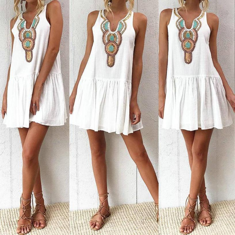 KANCOOLD Dress New High Quality Girl Fashion Summer Retro Print Dress Evening Party Beach Sleeveless Mini Dress Women AP24